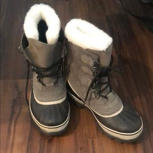 Sorel Caribou Boots with fur lining (grey suede)